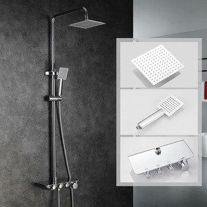 Image 2 - מודרני פשוט גשם חדר רחצה תרמוסטטי מקלחת מגופים סט כרום מיקסר ברזים עם יד מקלחת כיכר ראש מקלחת סט 88321