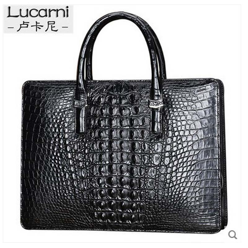 lukani crocodile man's handbag without splicing men  handbag business briefcase man's bag with password lock computer bag men without women