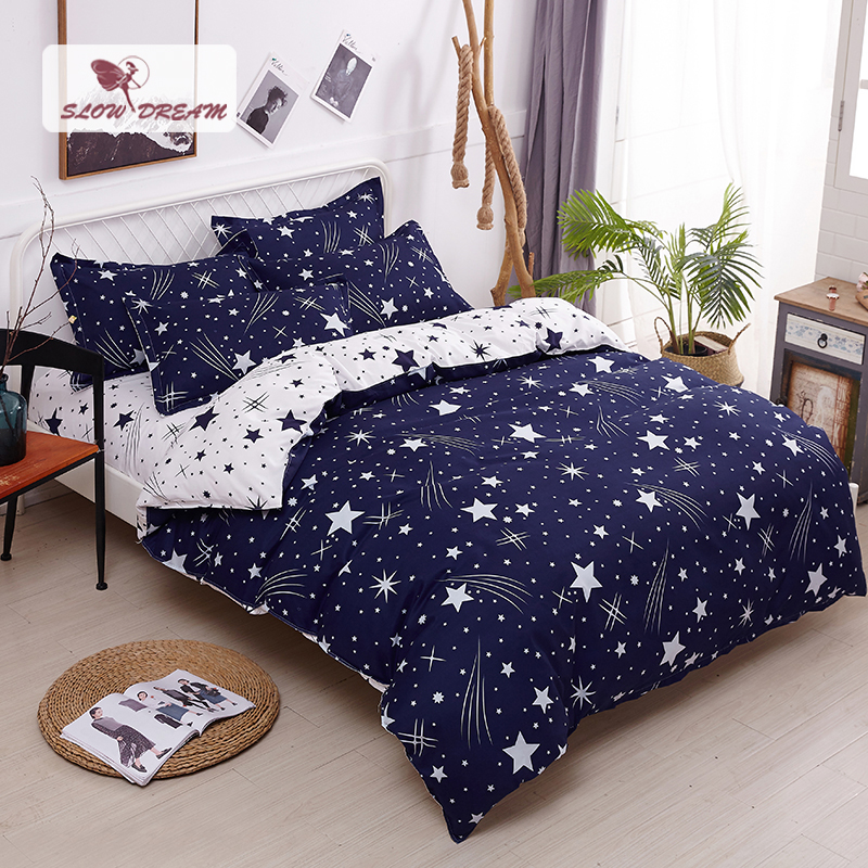 SlowDream Nordic Star Bedding Set Double Queen King Bed Linen Euro Decor Bedding Home Textiles Bedspread Adult Child Bed Sheet