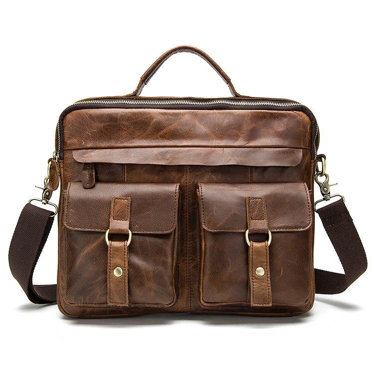 2018 Men Retro Briefcase Business Shoulder Bags Genuine Leather Crossbody Handbag Computer Laptop Men's Messenger Travel Bag