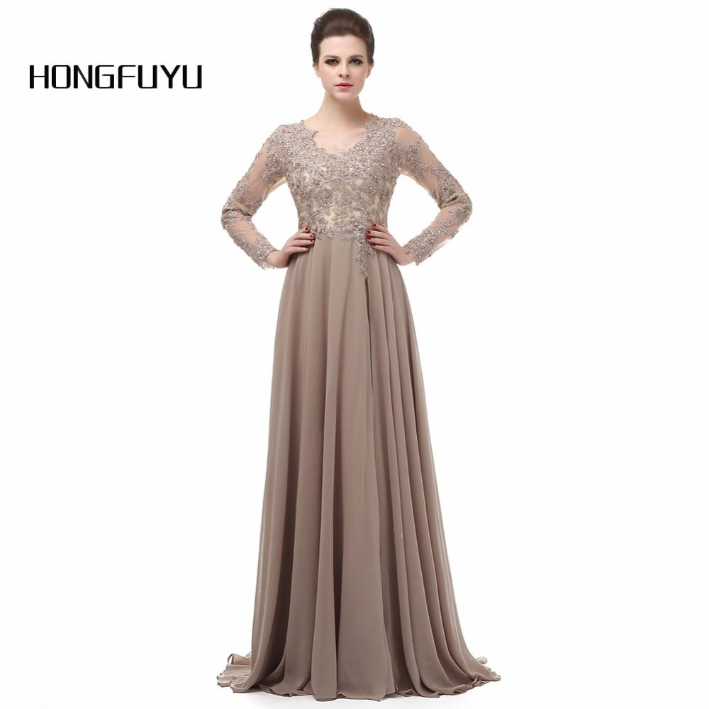 Hongfuyu Elegant Long Sleeve Line Neck Chiffon Lace