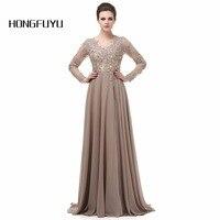Elegant Long Sleeve A Line V Neck Chiffon Lace Beaded Long Maternity Evening Dresses 2015 Vestido