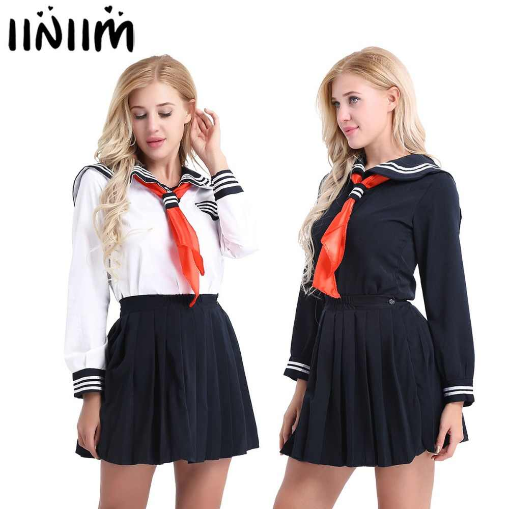 2a2acaf2b Hot Japanese School Sexy Womens Cosplay Costumes Sailor School Uniform Dress  Suit Shirt with Pleated Skirt