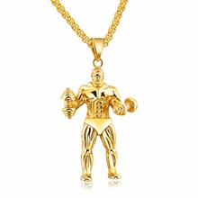 Top Strong Man Stainless Steel Necklaces Pendants Personalized Sport Dumbbell Weight Lifting Long Necklace Men Charm Gym Jewelry