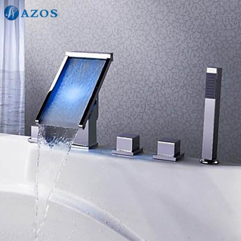 Bathtub Faucets LED Light Chrome Bathroom Suana 5pc Sets Showerhead,Diverter,Two Handles,Shower Hose,Waterfall Spout YGWJ007