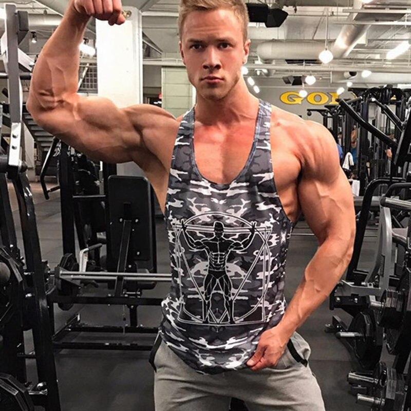 2018 New Men Bodybuilding   Tank     Tops   Camouflage sleeveless Shirt Man Gyms Fitness Singlet vest Undershirt workout Brand clothing