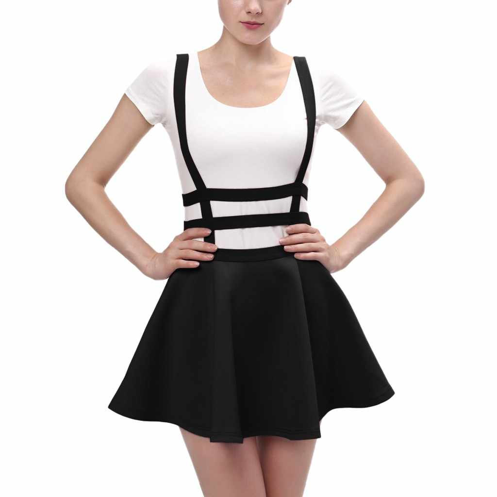 2a83f7d63b3a0 Women's Summer Pleated Short Braces Skirt Fashion Casual Solid Color  Streetwear Korean Mini Skirt Girls Student Sexy Skirts 2019