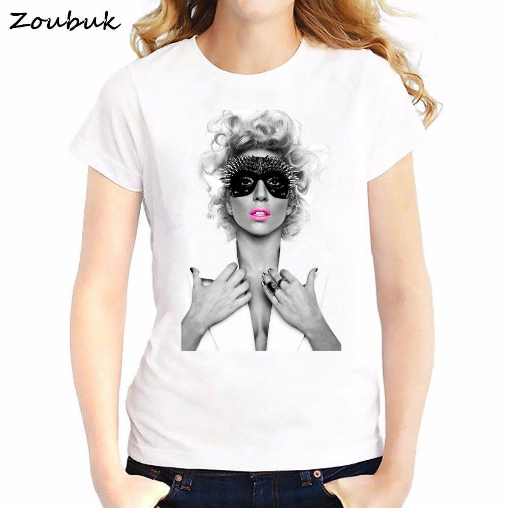 American Singer Lady GaGa printed t shirt women tshirt fashion sexy girl hipster shirt vogue Character Design white tops t-shirt