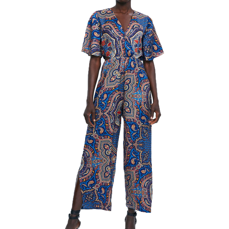 Summer rompers womens   jumpsuit   2019 new casual womens clothing printing blue   jumpsuit