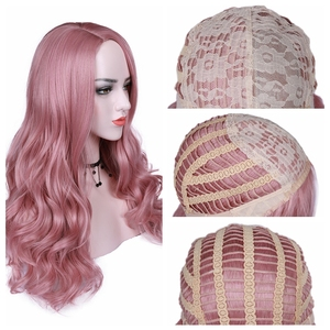 Image 5 - FAVE Peluca de pelo sintético largo para mujer, Color degradado, parte lateral, Sakura, rosa, púrpura, con flequillo, para fiesta, Cosplay