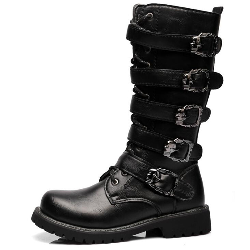 Army Boots Men High Military Combat Boots Metal Buckle Punk Mid Calf Male Motorcycle Boots Lace Up Men's Shoes Rock Punk Boots lace up slouch mid calf boots
