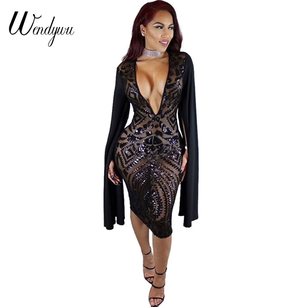 Wendywu Sexy Club Deep V-Neck Sequined Split Long Sleeve Black Knee-Length Pencil Dress