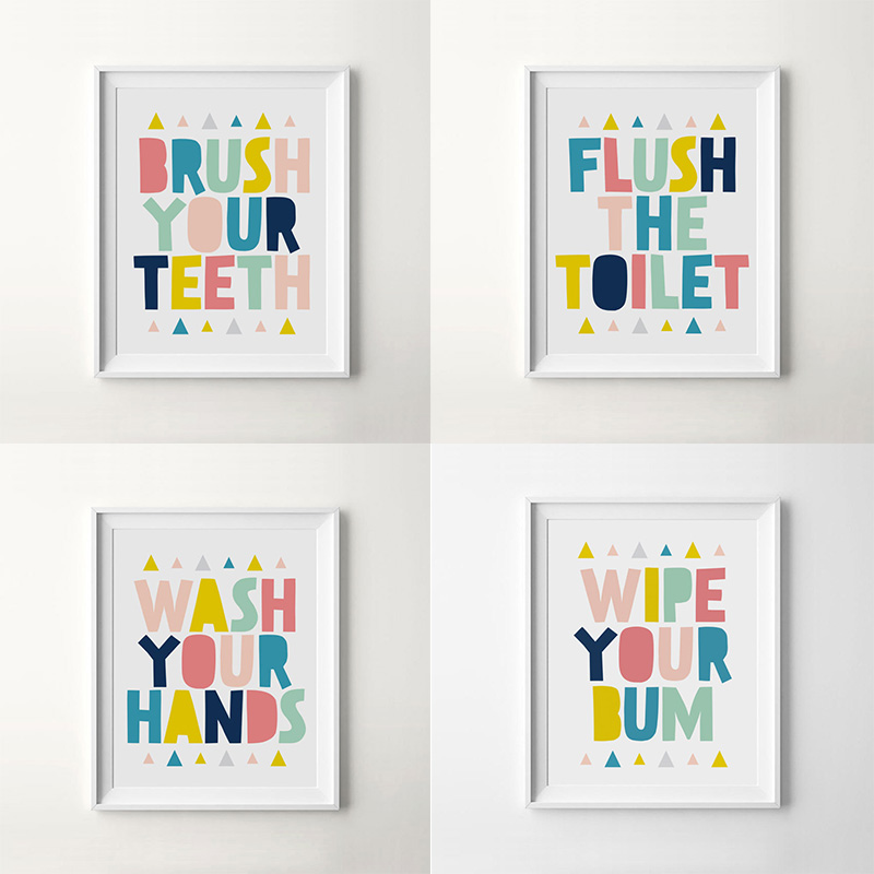 Bathroom Colorful Letter Quotes Large Canvas A4 Art Print Poster