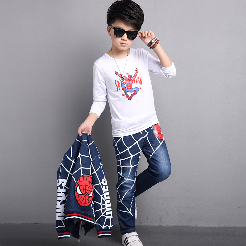 29KEIZ 3PCS/Set Blue Spiderman Children Clothing Set Autumn Cotton Denim Baby Boys Sport Suit Sportswear Jacket + Pant + T-shirt