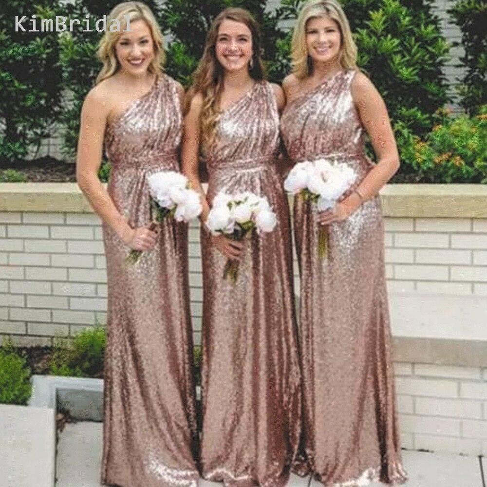 Rose Gold Bridesmaid Dresses Long Cheap 2019 One Shoulder Custom Wedding Guest Dresses Vestido De Novia