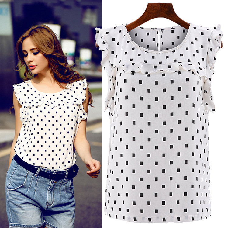 Bedwelming 2015 Women Polka Dot Blouse Shirt Chiffon Summer Style Sleeveless &VO09