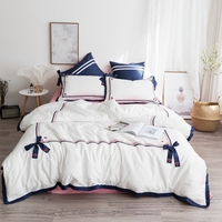 New Blue white egyptian cotton Bow decoration Bedding Set Duvet Cover Bed sheet Bed Linen Pillowcases 4pcs