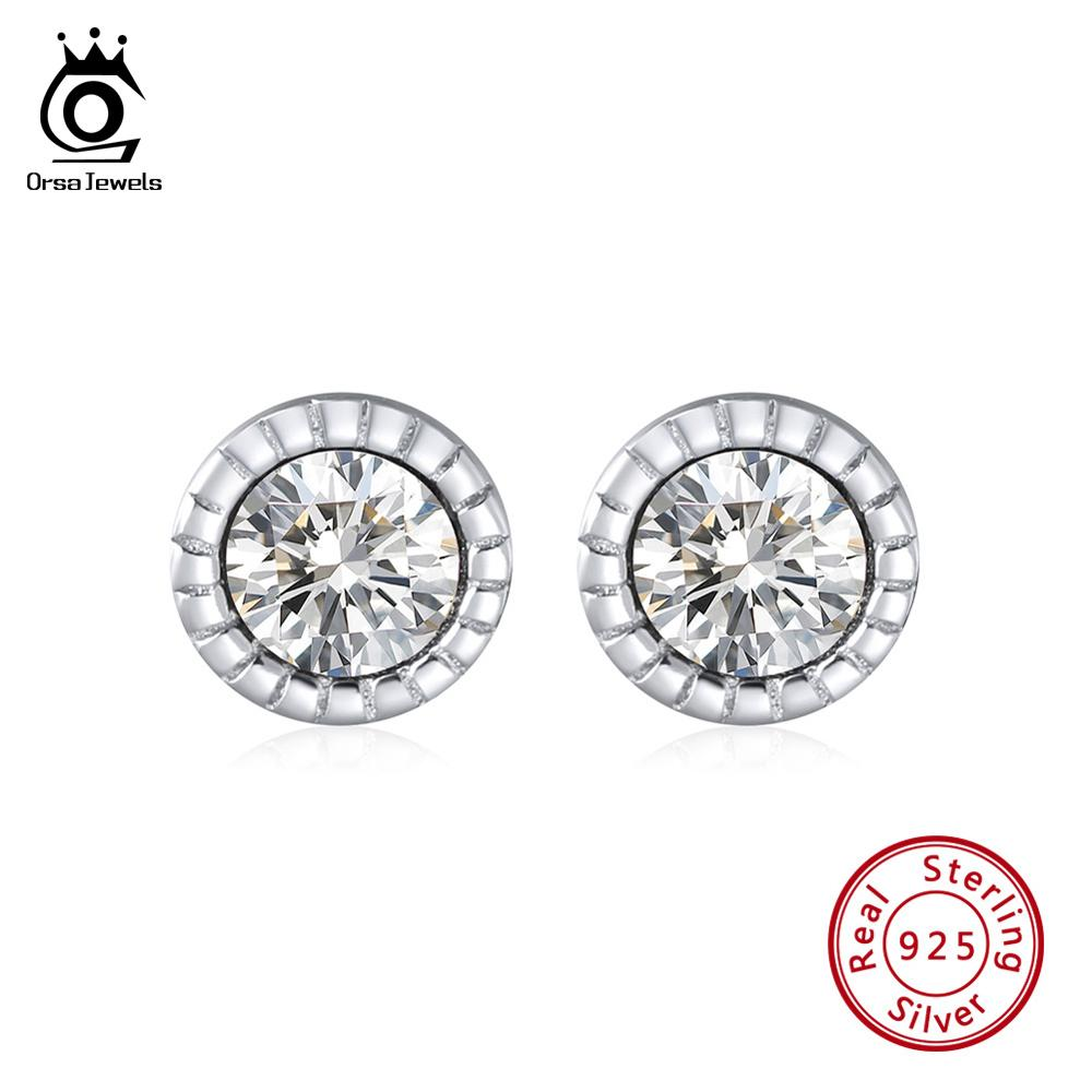 Clear AAA CZ Jewelry New Authentic S925 Sterling Silver Five Star Stud Earrings