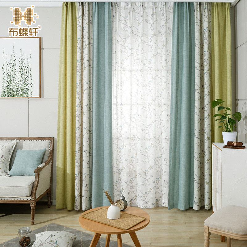 New Arrival One Panel Luxury Floral Blinds Curtain Drapes Green Blue Blackout 35% Linen Curtains for Hotel Living Room