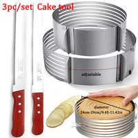 Couche de gâteau réglable coupe Mousse cuisine Chef dentelé Toast couteau gâteau trancheuse dispositif moule ustensiles de cuisson cuisson gâteau outils