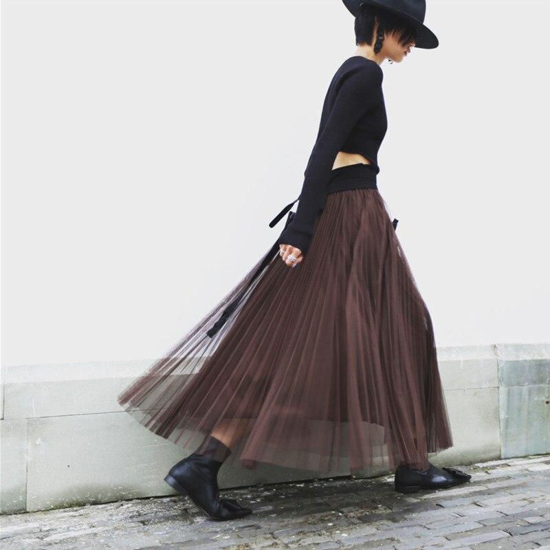 LANMREM 2019 New Summer Fashion Women Mesh Stocks High Waist Elastic A-line Long Halfbody Skirt Female Bottom WG85716