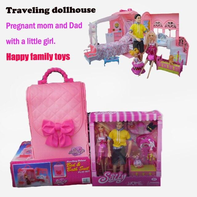 Diy кукольный домик Сумки Путешествия Кукольная мебель наборы миниатюрный кукла беременные куклы спальни Семьи куклы подарок для девочек