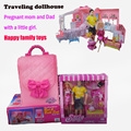 Diy dollhouse  Handbag Traveling Dollhouse furniture sets miniature doll pregnant dolls bedroom set Family dolls gift for girls