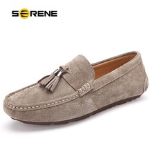 Купить с кэшбэком SERENE Suede Leather Men shoes Driving Bean Shoes British Style Loafers with tassel Flats Casual Moccasins Presto Big Sales 9037