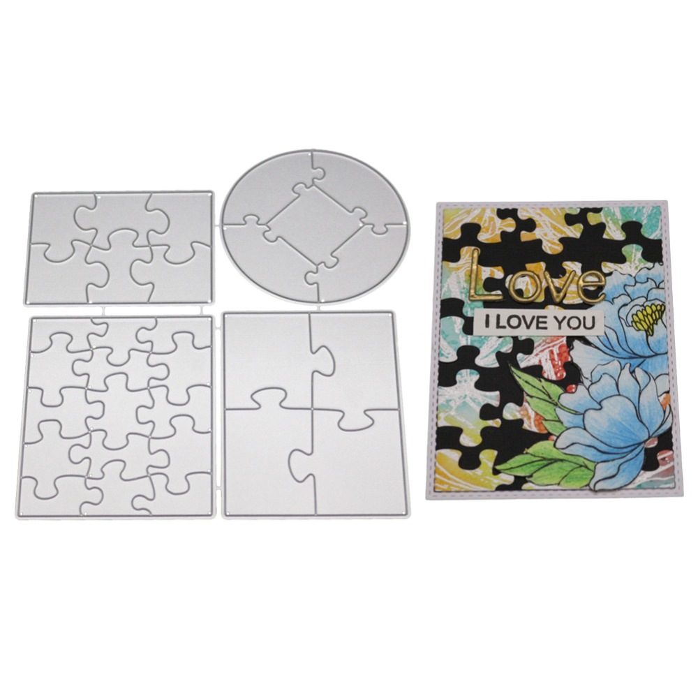 Puzzle Frames Metal Cutting Dies For DIY Scrapbooking Card Making Album Stencil Embossing Clear Background Stamps And Dies SetsPuzzle Frames Metal Cutting Dies For DIY Scrapbooking Card Making Album Stencil Embossing Clear Background Stamps And Dies Sets