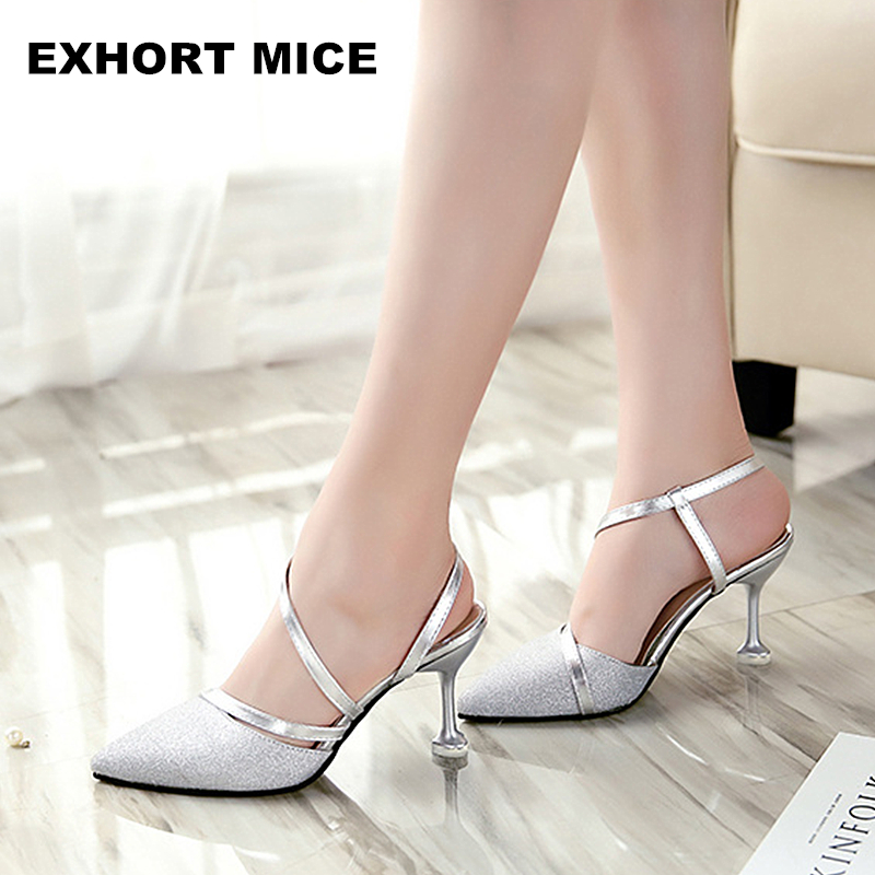 2017 spring heel High Heels Sandals lady Pumps classics slip on Shoes sexy Women party shoes gold silver Wedding Slingbacks 8cm luxury brand crystal patent leather sandals women high heels thick heel women shoes with heels wedding shoes ladies silver pumps