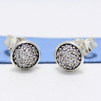 ROCKART Real S925 Sterling Silver Dazzling Droplets Stud   Earrings   With Clear CZ For Women   Fine   Jewelry Gift New Hot