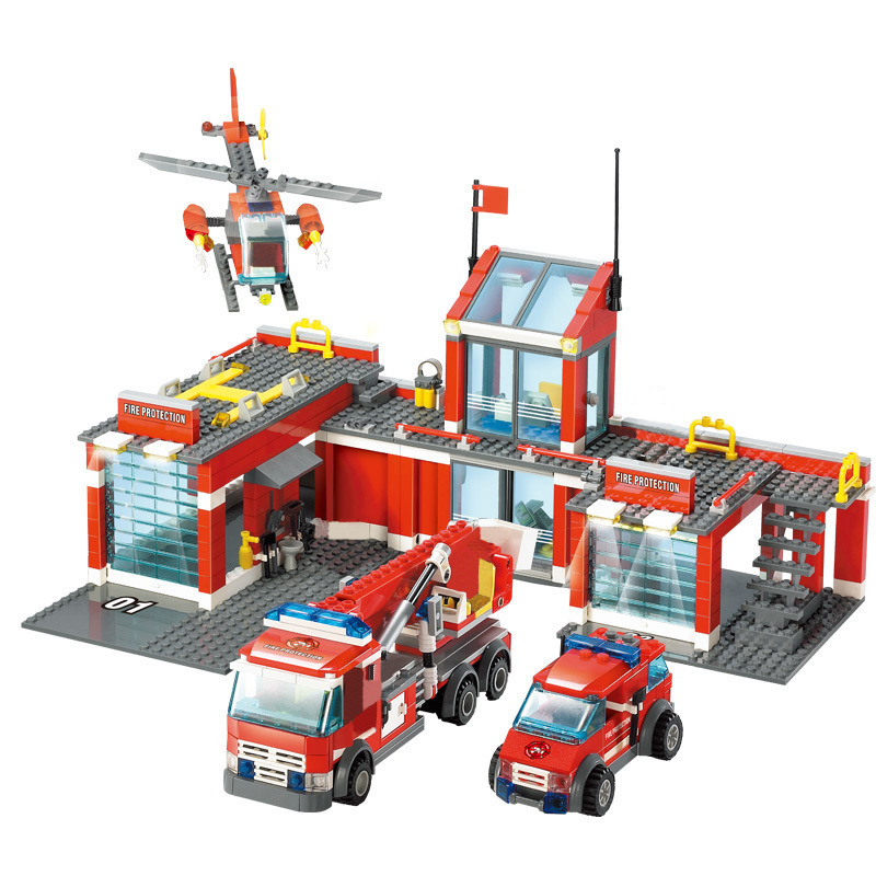 KAZI 8051 City Fire Station Building Blocks DIY Educational Bricks Kids Toys Best Xmas Gifts For Kids Compatible Legoings Toys kazi fire department station fire truck helicopter building blocks toy bricks model brinquedos toys for kids 6 ages 774pcs 8051
