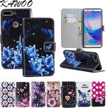 sFor Huawei Y7 Prime 2018 PU Leather Case Magnetic Flip Cover Capa Folio Retro Pattened Wallet Coque Fundas