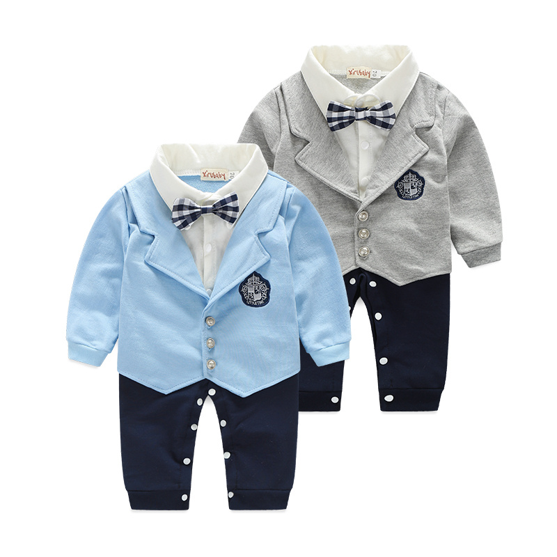 2015 New baby boys romper newborn gentleman bow tie suits spring autumn bebe jumpsuit costume infant clothes roupas de bebe summer 2017 navy baby boys rompers infant sailor suit jumpsuit roupas meninos body ropa bebe romper newborn baby boy clothes