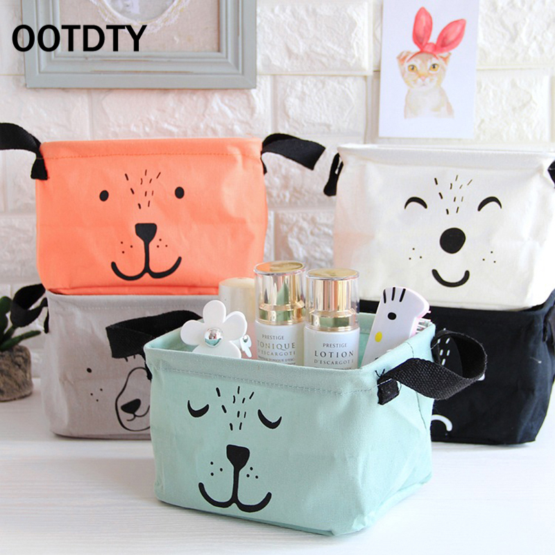 OOTDTY Cotton Linen Home Storage Box Clothes Organizer Folding Office Desk Organizer 5 Colors Makeup Organizer for Cosmetics