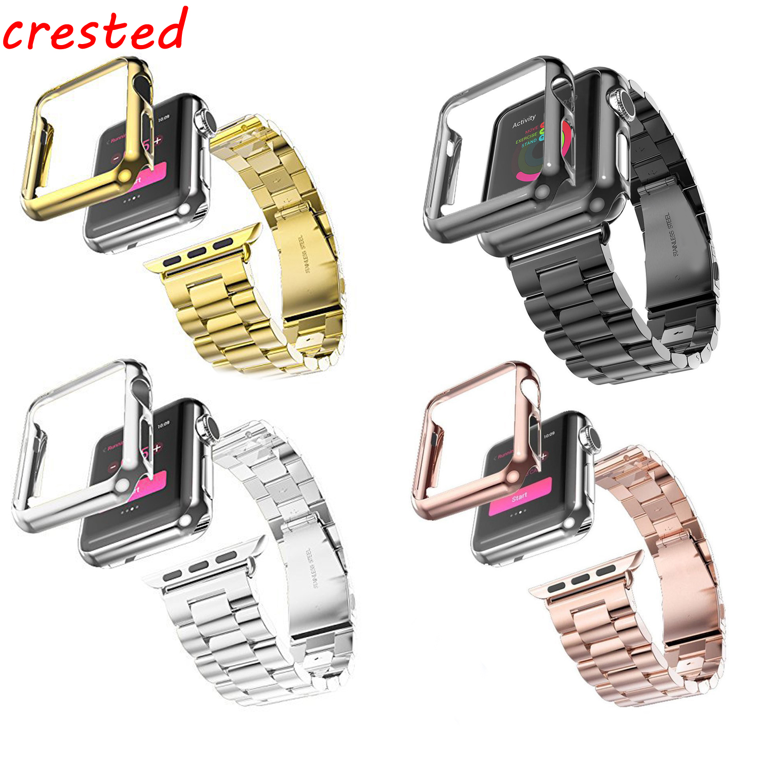 Stainless steel strap+case for apple watch band 42mm 38mm link bracelet metal belt watchband+for iwatch band Adjust Repair Tool new arrival diamond stainless steel band for apple watch band strap link bracelet 38mm 42mm smart watch metal band for iwatch