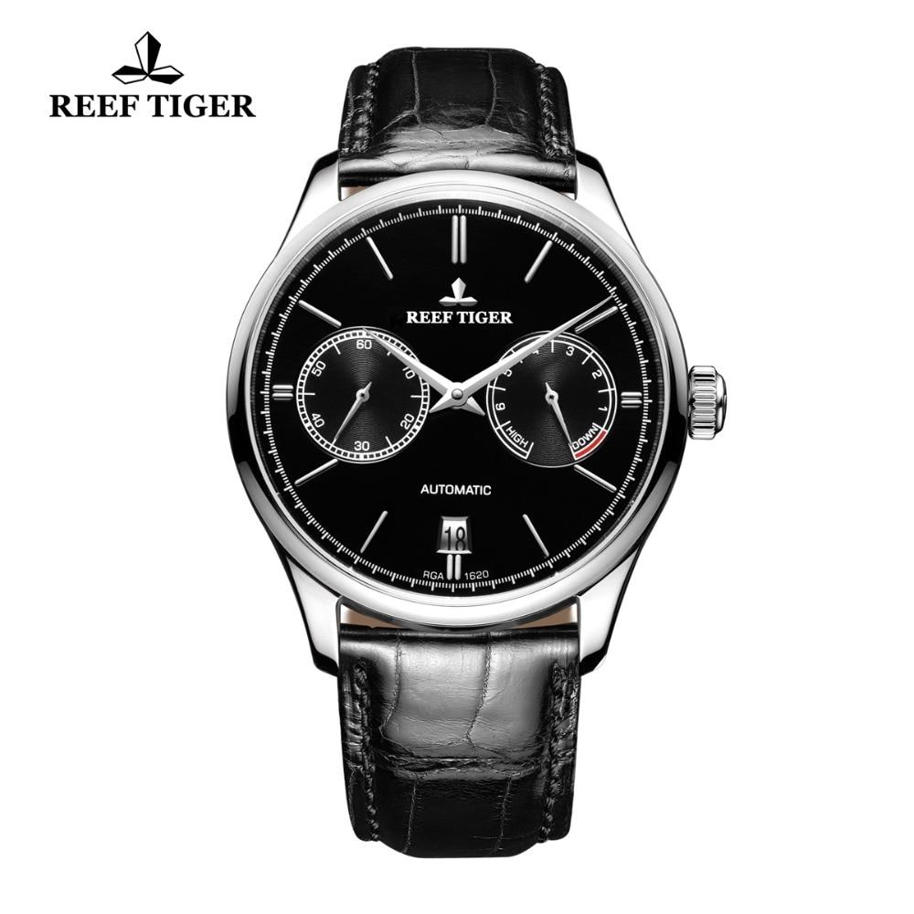 Reef Tigre/RT Elegant Business Mens Orologi Calendario Perpetuo Power Reserve Piccoli Secondi Automatico Orologi RGA1620