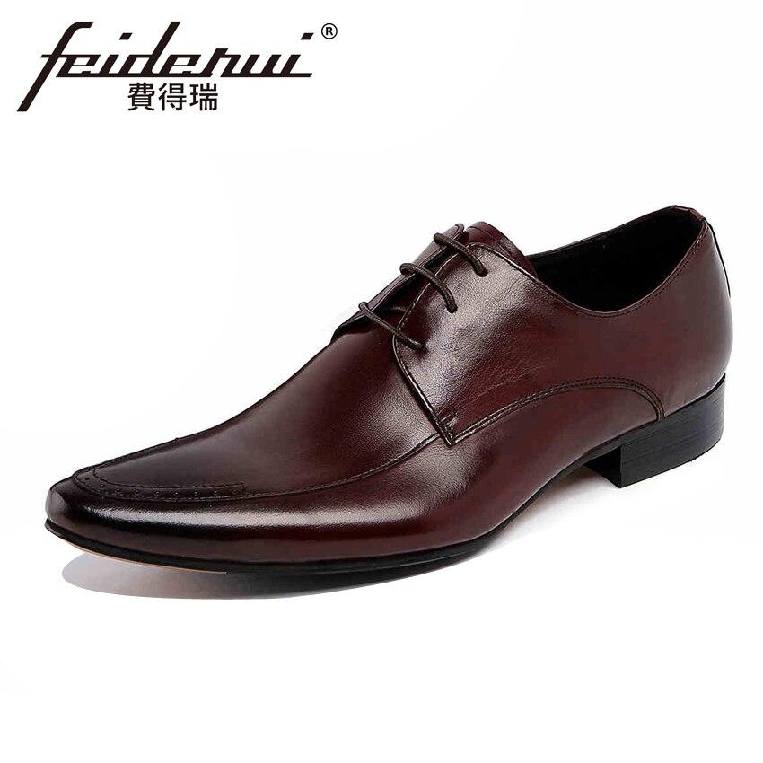 Zapatos Auténtico Calzado Vestido Boda Calidad Hecho Ymx130 Formal Hombres Los Derby marrón Estrecha De up Alta Del A Negro Encaje Punta Mano Cuero Hombre Pisos w0q1xznX