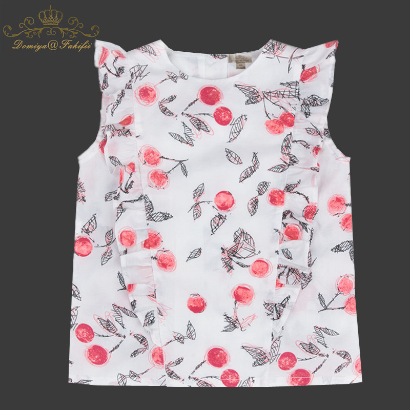 Girls Tops Summer 2018 Hot Brand Children T shirts Girls Clothes Kids Tee Shirt Fille 100% Cotton Berry Print Baby Girl Clothing skull print slashed tee