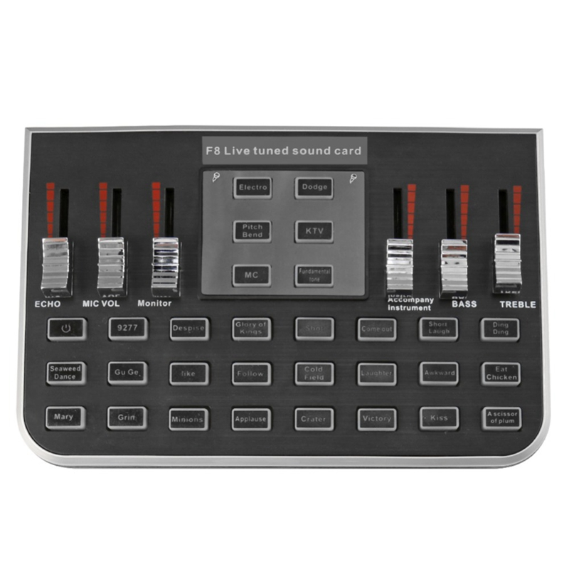 F8 4 Modes Studio Audio Mixer Microphone Webcast Entertainment Streamer Live Sound Card For Phone Computer