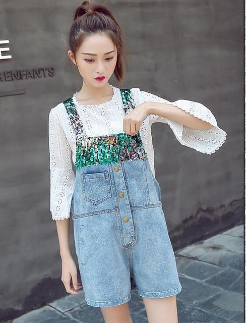 bae1b4fb1a49 Sequin Suspender Strap Straight Wide Leg Button Korean Fashion Denim Short  Overalls Summer Jean Bottom Jumpsuit Romper Plus Size