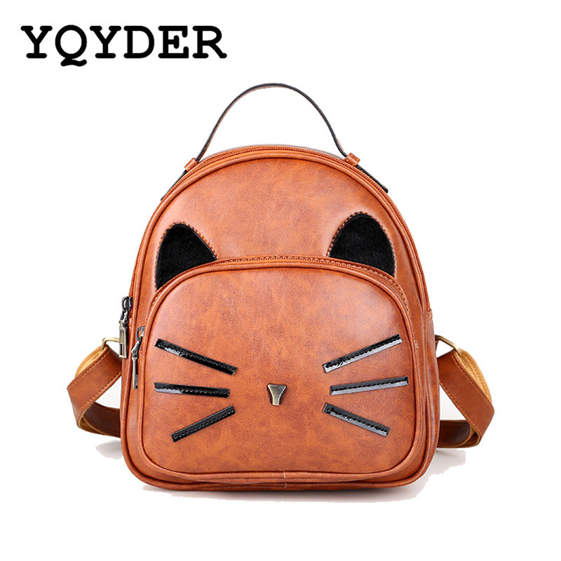 Cat Ear Design Backpack Vintage PU Leather Backpack Cute Cats Backpacks For Teenage Girls School Bags Small Black Travel Bags кронштейн для тв hama h 118668 black