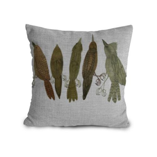 Retro Birds Family Design 45*45cm Car Seat Linen Cotton Cushion Cover decorative pillows cushion for Wedding Gifts