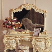 Мебель в стиле барокко белый туалетный столик Роскошные комплекты мебели для спальни деревянная кровать