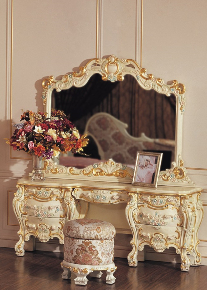 Mobilier baroque blanc coiffeuse de luxe chambre ensembles for Coiffeuse meuble en anglais