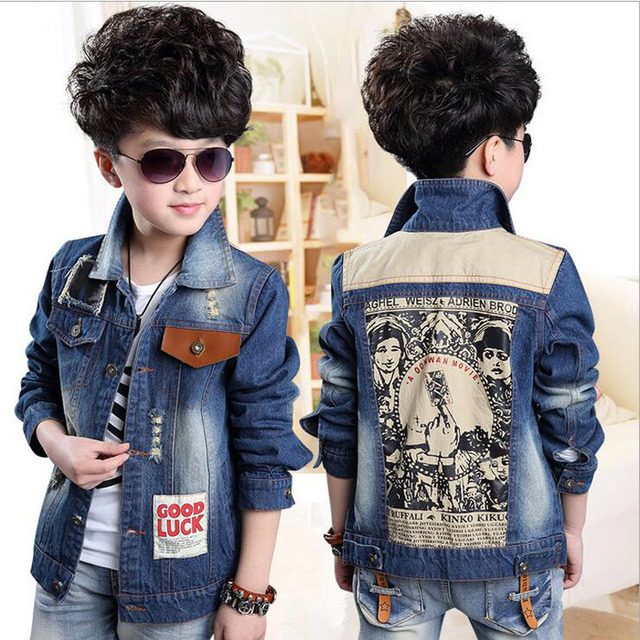 Hot Autumn Baby Boy Jeans Coat Vintage Style Fashion Printing Splice