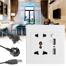 Socket+2 USB+Switch Wall Socket Charger AC/DC Power Adapter Plug Outlet Panel livolo manufacture grey glass panel 2 gangs wall computer and tv socket outlet vl c791vc 15 without plug adapter