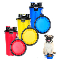 Portable Pet Dog Feeder Bottle Bowl Travel 2 in 1 Dog Water
