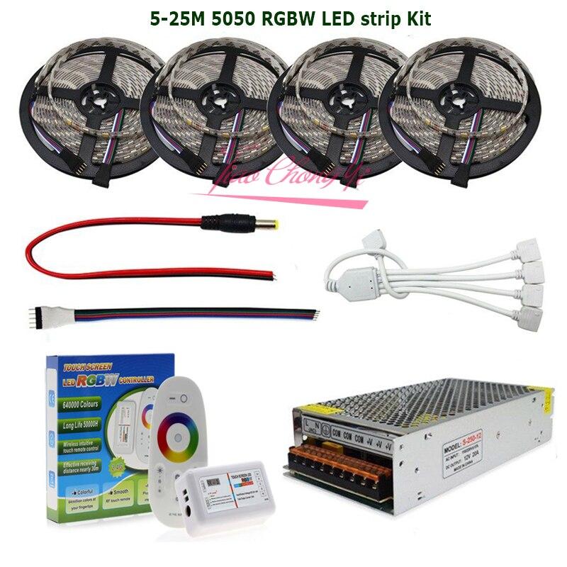 5M-20M DC12V LED Strip RGBW RGBWW 5050 Flexible Tape + 2.4G RF RGB Controller+ LED Power Supply Kit
