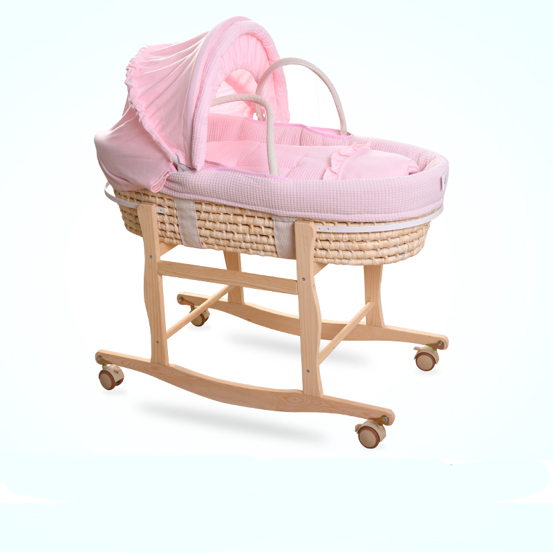 Natural Straw Hand Knitting Baby Portable Bassinet Bed Crib Breathable Outdoor Travel Cars Baby Kids Cradle Bed Protector wallet